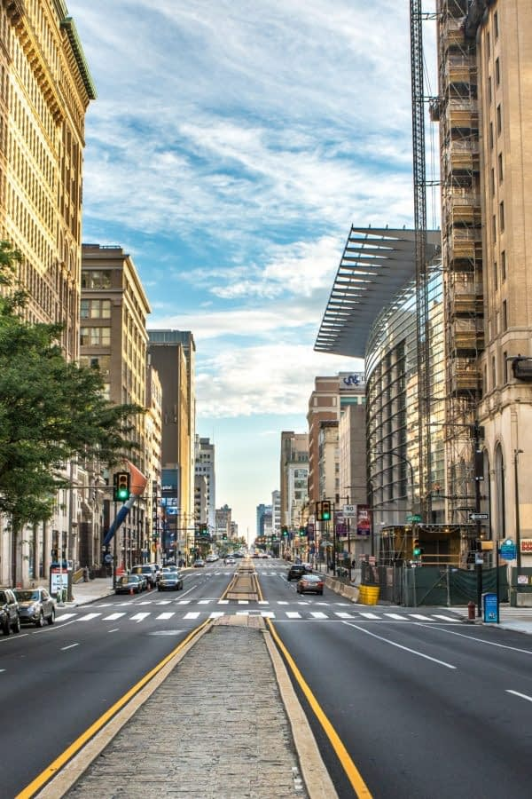PHILADELPHIA - Sept 1, 2016: Cityscape with street and Downtown Skyline of Philadelphia, Pennsylvania, USA